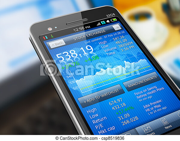 Stock market application on smartphone - csp8519836
