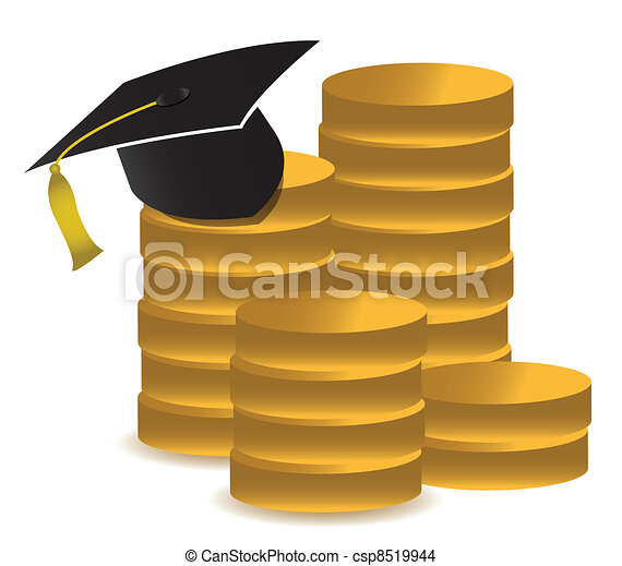 graduation hat and money - csp8519944