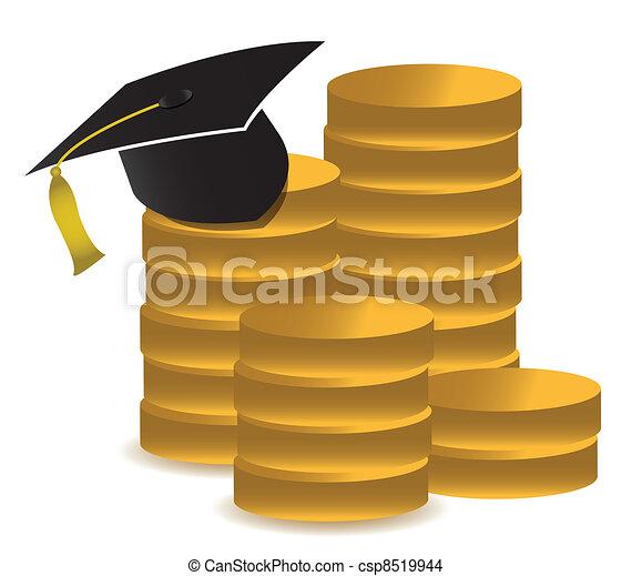 graduation hat and money - csp8519944