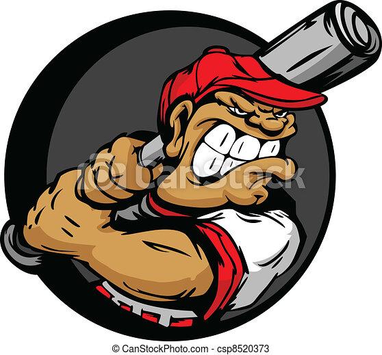 Tough Baseball Player Holding Baseb - csp8520373