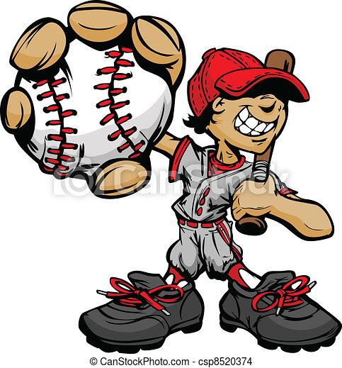 Kid Baseball Player Holding Basebal - csp8520374