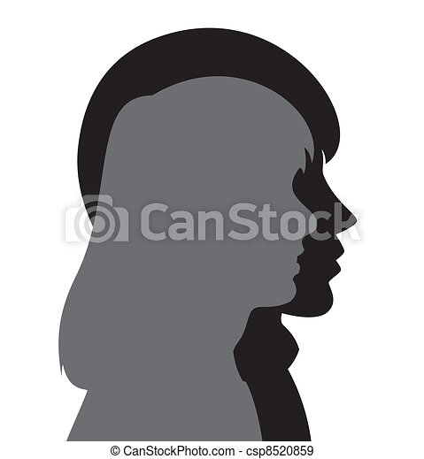 vector silhouette of young man and woman - csp8520859