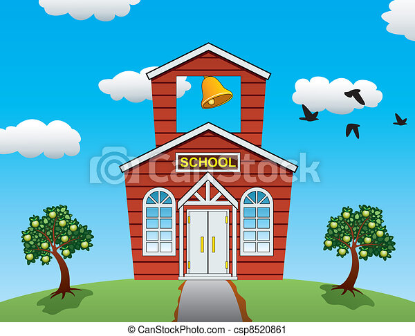 vector illustration of country school house, apple trees, clouds and flying birds - csp8520861
