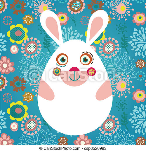 Easter greeting card with bunny - csp8520993