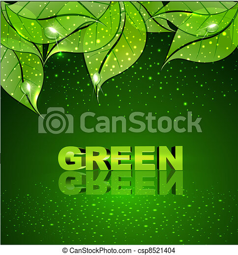 background with green leaves   - csp8521404