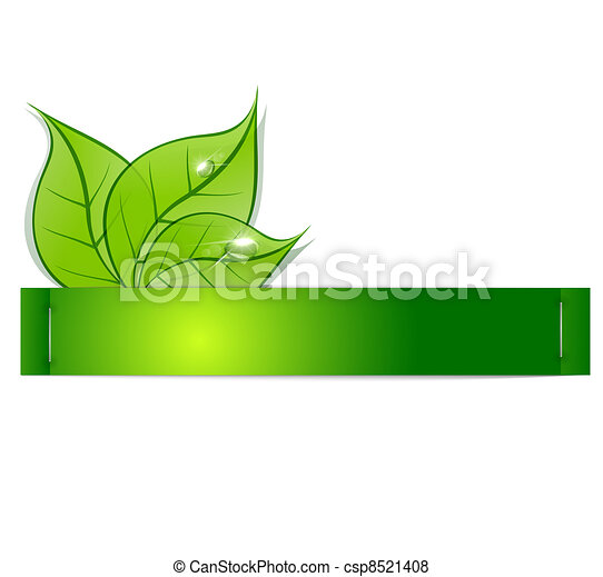 paper strip with green leaves and drops of dew on a white background
