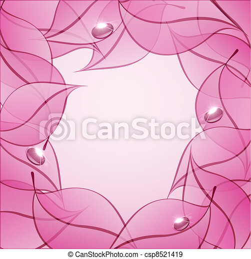 vector abstract background with pink leaves and drops of dew - csp8521419
