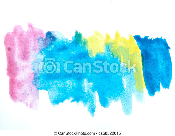 Colorful watercolor brush strokes - csp8522015