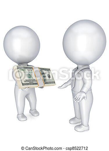 3d small people with a dollar pack in a hands. - csp8522712