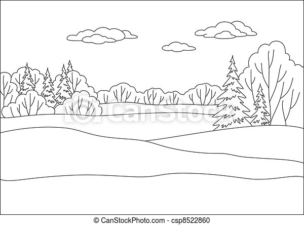 Landscape, winter forest, contours - csp8522860