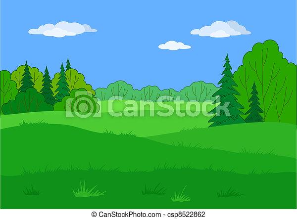 Landscape, summer forest glade - csp8522862