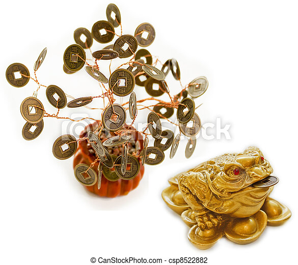 Chinese Feng Shui Frog with coins and money tree - csp8522882