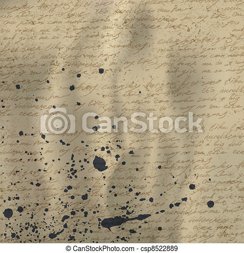 Abstract handwriting on old crumpled vintage paper with ink splutter. Vector background, EPS10. - csp8522889