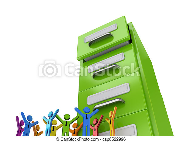 Colorful 3d small people and green archive case. - csp8522996