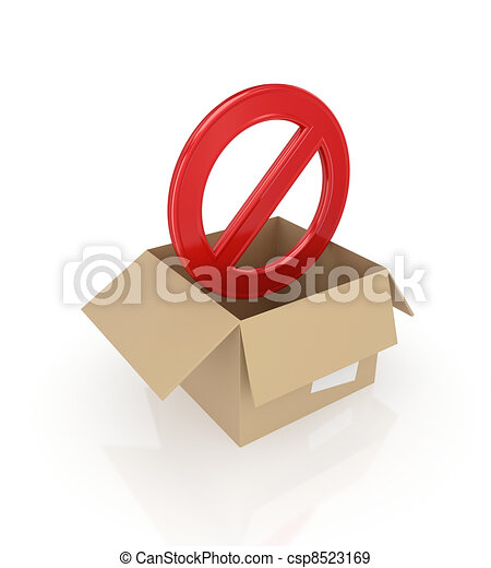 Red stop symbol in carton box. - csp8523169