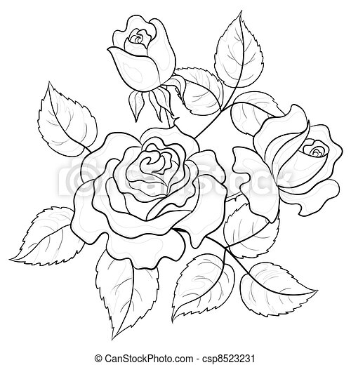 Clipart Of Flower Roses Contour Flowers Roses Buds And