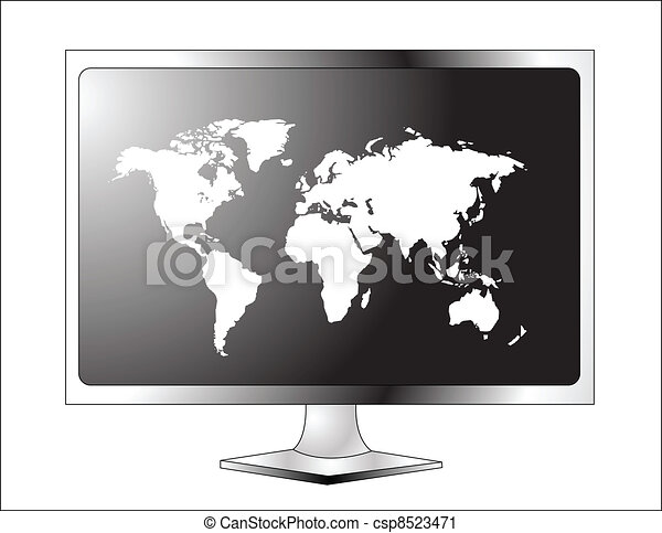 Plasma LCD TV with world map - csp8523471