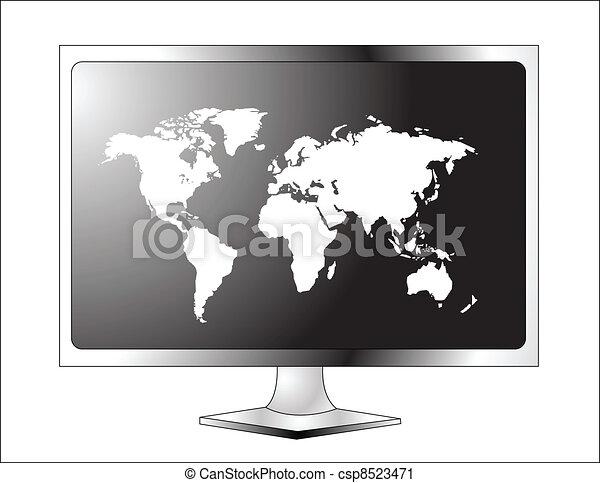 Plasma LCD TV with world map - csp8523471