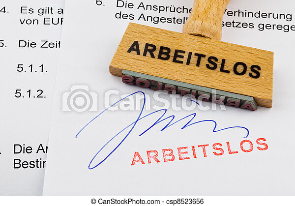 wooden stamp on the document: unemployed - csp8523656