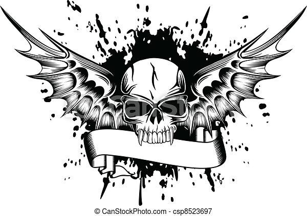 Vector Illustratie Van Schedel Vleugels 2