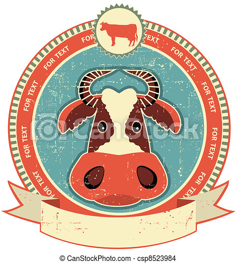 Cow head label on old paper texture.Vintage style - csp8523984