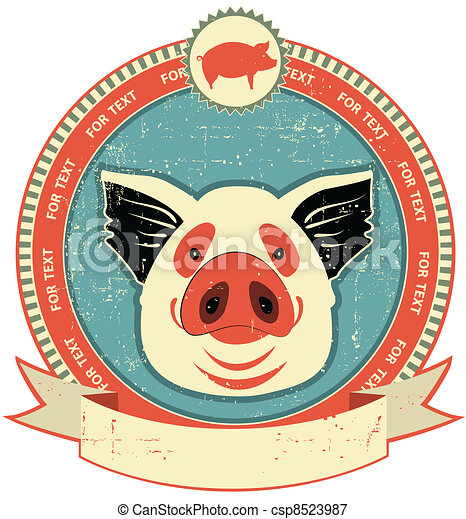 Pig head label on old paper texture.Vintage style - csp8523987
