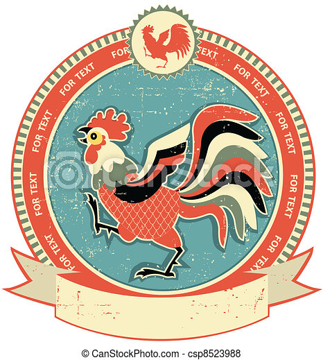 Rooster label on old paper texture.Vintage style - csp8523988