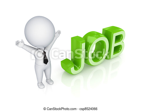 3d small person and word JOB. - csp8524066