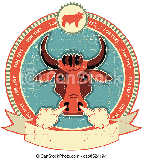 Bull head label on old paper texture.Vintage style - csp8524194