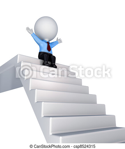 3d small person sitting on a stairs. - csp8524315