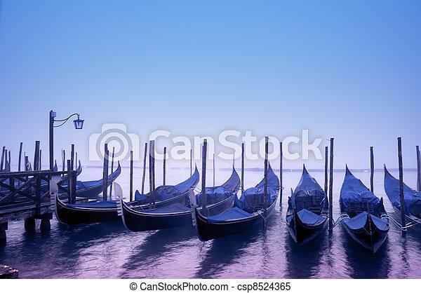 Gondolas in Venice - Italy - csp8524365
