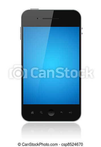 Smart Phone With Blue Screen Isolated - csp8524670