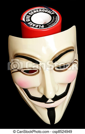 Stock Photo - Guy fawkes mask with cahrity collection - stock image ...
