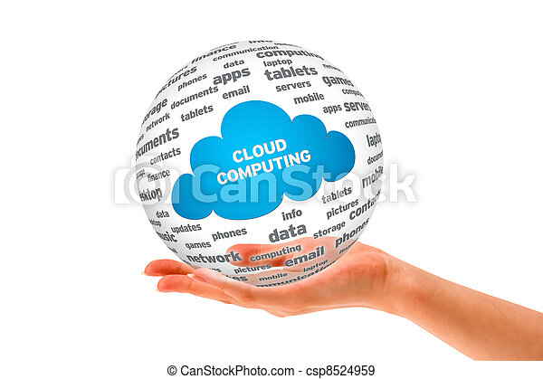 Hand holding a Cloud Computing Sphere - csp8524959