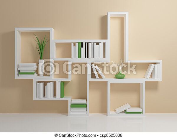 stock illustration von wei es b cherregal mit a wei es. Black Bedroom Furniture Sets. Home Design Ideas