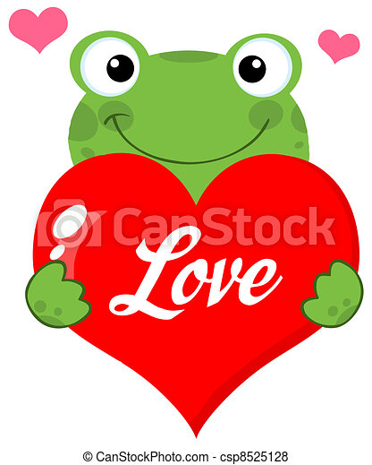 Cute Frog Holding A Heart - csp8525128