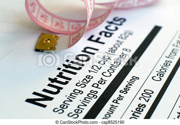 Nutrition facts and measure tape  - csp8525190