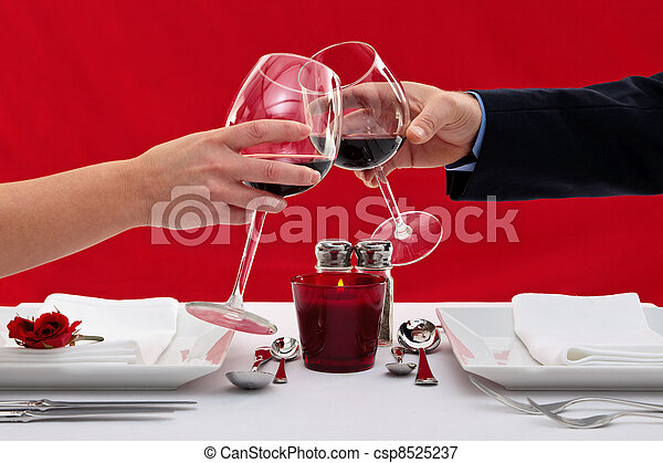 Couple toasting their glasses - csp8525237
