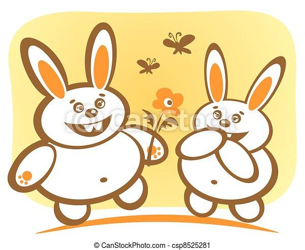 Clipart de feliz, conejos - dos, caricatura, feliz, conejos ...