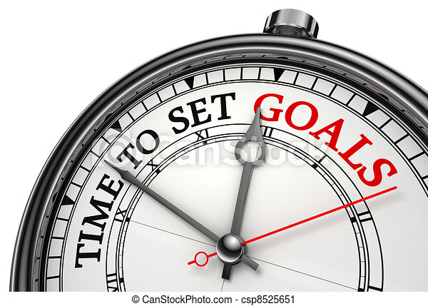 time to set goals concept clock - csp8525651