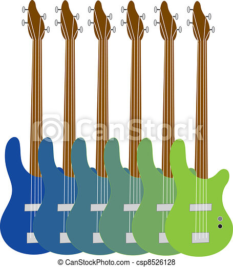 Colorful Bass Guitars - csp8526128