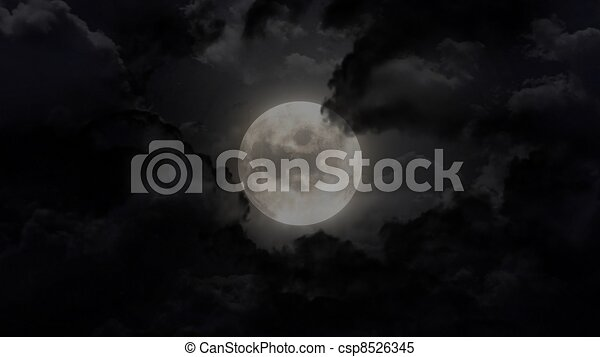moon in the night sky - csp8526345