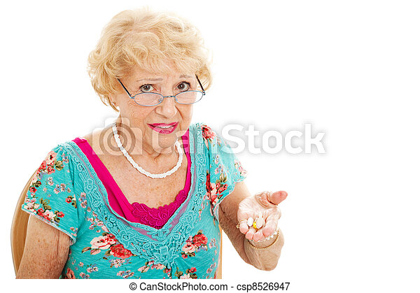 Senior Woman Hates Taking Pills - csp8526947