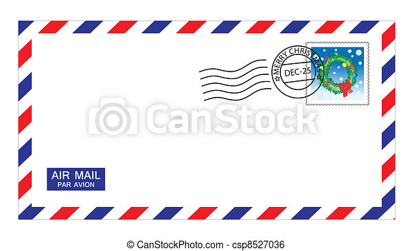 christmas airmail envelope - csp8527036