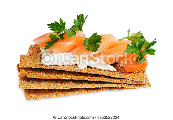 Snack. Bread with feta cheese and salmon. - csp8527234