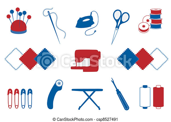 Quilting, Patchwork, Sewing Icons - csp8527491