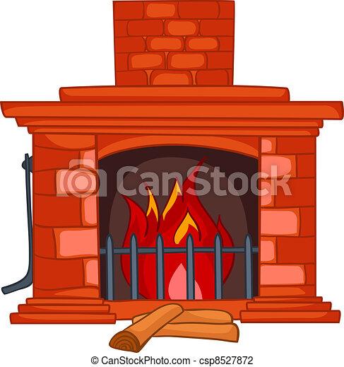 Cartoon Home Fireplace - csp8527872