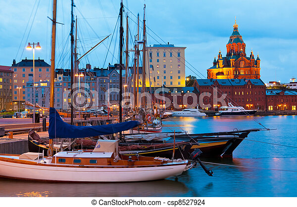 Evening scenery of the Old Port in Helsinki, Finland - csp8527924