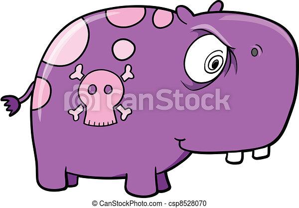 Crazy Bad Hippopotamus Vector - csp8528070