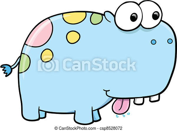 Goofy Silly Blue Hippopotamus - csp8528072